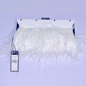 🆕 BCBGMaxAzria White Feather Clutch